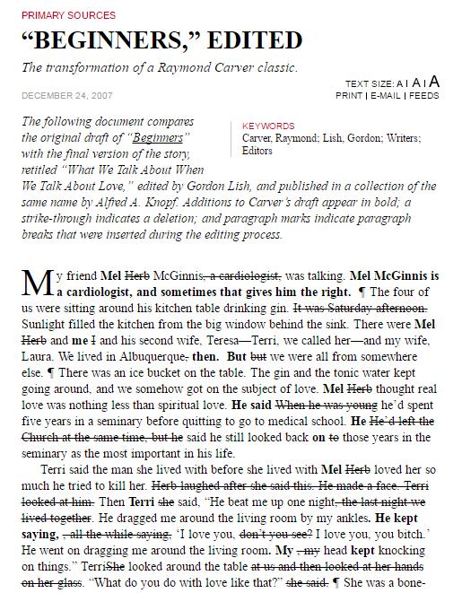 il testo di Carver con le correzioni del suo editor Lish